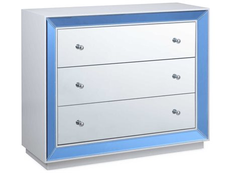 Bassett Mirror Townsend Blue / Clear Glass White Lacquer 3 Drawers or less Chest of BA4340LR766