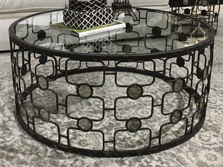 Bassett Mirror Velde Ratty Glam Black with Antique Inserts 40'' Wide Round Coffee Table BA3373LR120