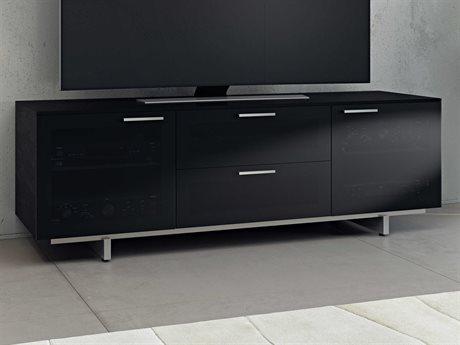 BDI Avion Noir S.II 65'' x 22'' Black Stained Oak Quad Wide TV Stand BDI8937