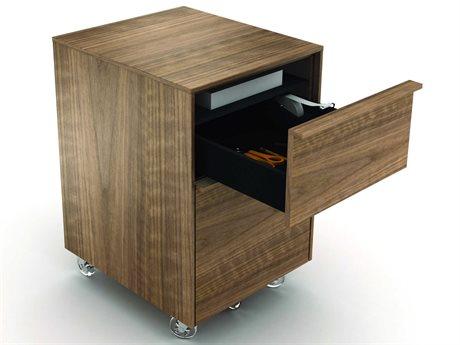 BDI Cascadia 16'' x 18'' Natural Walnut Two Drawer Mobile Pedestal File Cabinet