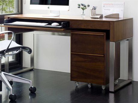 BDI Cascadia 54'' x 24'' Rectangular Chocolate Stained Walnut Reversible Two Drawer Computer Desk