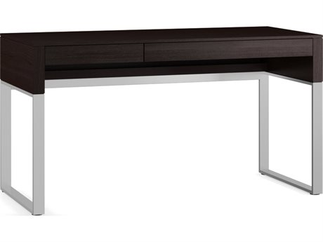 BDI Cascadia 54'' x 24'' Rectangular Espresso Stained Oak Reversible Two Drawer Computer Desk