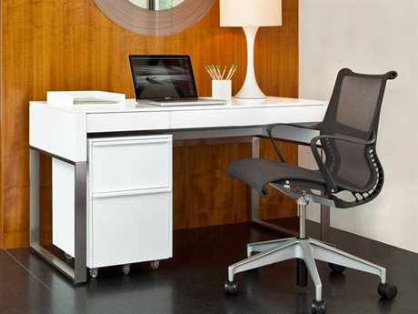 BDI Cascadia 54'' x 24'' Rectangular Satin White Reversible Two Drawer Computer Desk