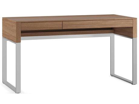 BDI Cascadia 54'' x 24'' Rectangular Natural Walnut Reversible Two Drawer Computer Desk