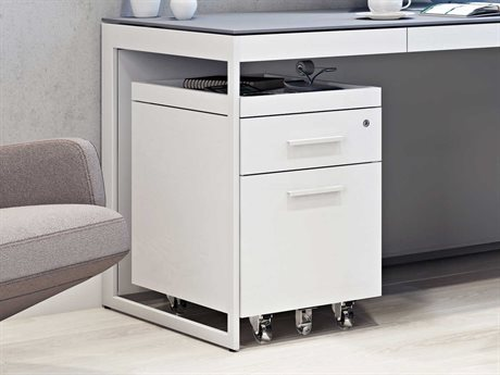 BDI Centro 16''W x 21''D Satin White & Gray Etched Glass Two-Drawer Mobile File Pedestal