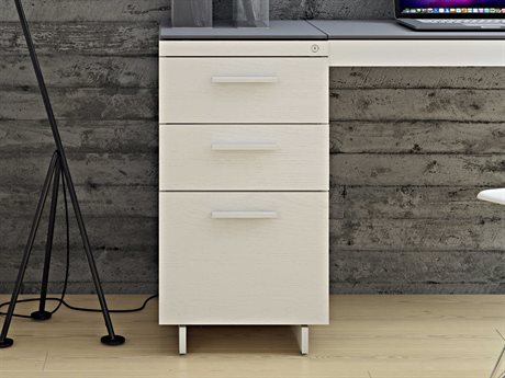 BDI Centro 15.5''L x 18''W Satin White & Gray Etched Glass Three-Drawer Cabinet BDI6414SWGRY