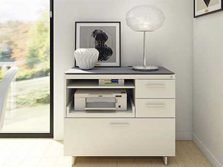 BDI Centro 35''L x 18''W Satin White & Gray Etched Glass Multi-Function Cabinet BDI6417SWGRY