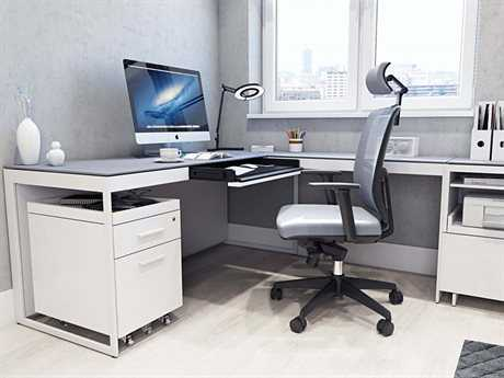 BDI Centro Satin White & Grey Etched Glass Office Set