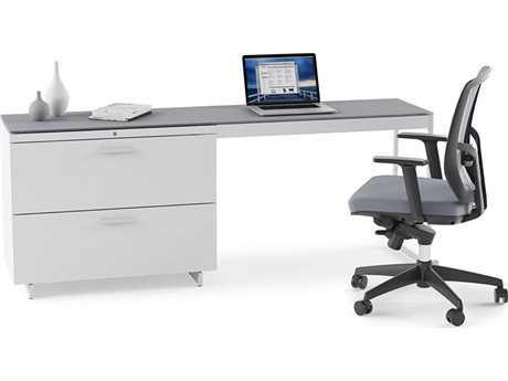 BDI Centro Satin White & Grey Etched Glass Office Set