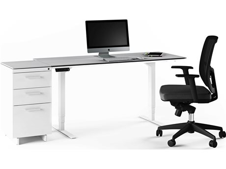BDI Centro Satin White & Grey Etched Glass Small Lift Desk Office Set