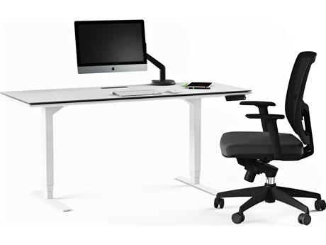 BDI Centro Satin White & Grey Etched glass 66''W x 30''D Rectangular Large Lift Desk