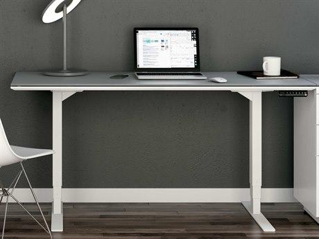 BDI Centro Satin White & Grey Etched glass 60''L x 24''W Rectangular Small Lift Desk BDI6451SWGRY