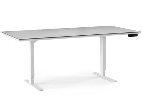 BDI Centro Satin White & Grey Etched glass 66''L x 30''W Rectangular Large Lift Desk BDI6452SWGRY