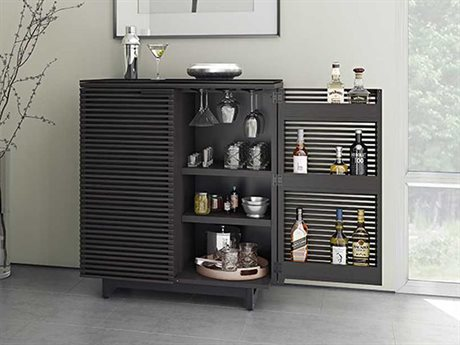 BDI Corridor 36''L x 18.5''W Charcoal Stained Ash Compact Bar Cabinet BDI5620CRL
