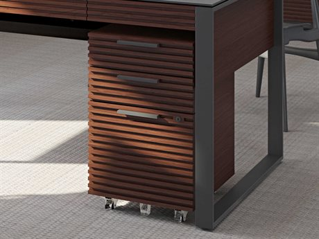 BDI Corridor Office 15.5''L x 21.5''W Chocolate Stained Walnut Three-Drawer Mobile File Pedestal BDI6507CWL