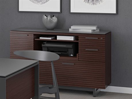 BDI Corridor Office 48''L x 18''W Chocolate Stained Walnut Multi-Function Cabinet BDI6520CWL