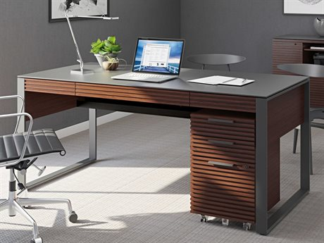 BDI Corridor Office 68''L x 32''W Chocolate Stained Walnut Three-Drawer Desk BDI6521CWL