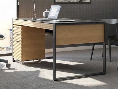 BDI Corridor Office 68''L x 32''W White Oak Three-Drawer Desk BDI6521WOK