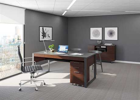 BDI Corridor Executive Office Chocolate Stained Walnut Executive Office Set BDI6521CWLSET3