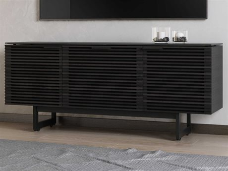 BDI Corridor 65''L x 21''W Charcoal Stained Ash Triple Width TV Stand with Drawer BDI8177CRL