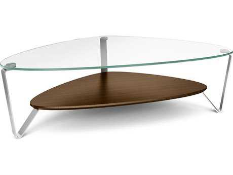 BDI Dino 55'' x 33'' Soft Triangular Chocolate Stained Walnut Large Coffee Table BDI1343CWL