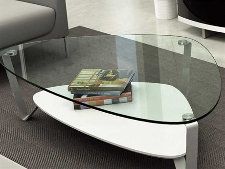 BDI Dino 55'' x 33'' Soft Triangular Gloss White Large Coffee Table BDI1343W