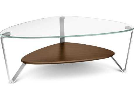BDI Dino 44'' x 27'' Soft Triangular Chocolate Stained Walnut Small Coffee Table BDI1344CWL