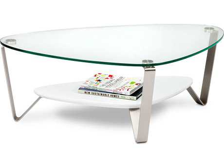 BDI Dino 44'' x 27'' Soft Triangular Gloss White Small Coffee Table BDI1344W