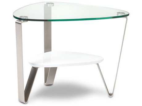 BDI Dino 29'' x 21'' Soft Triangular Gloss White End Table BDI1347W