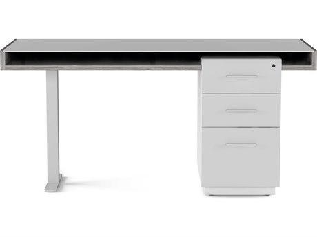 BDI Duo Platinum & Satin White 62''L x 25.5''W Rectangular Pedestal Desk with Filing Cabinet BDI6241PLSG
