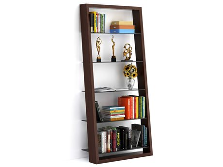BDI Eileen 34L x 74H Chocolate Stained Walnut Leaning Bookcase BDI5156CWL