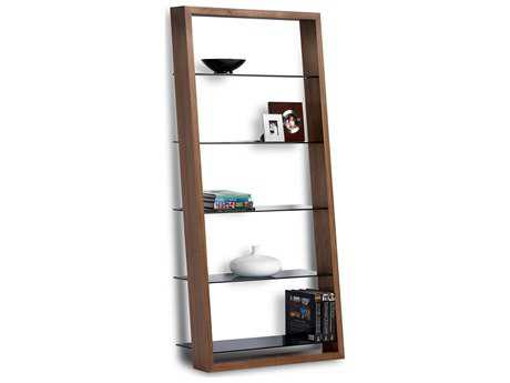 BDI Eileen 34L x 74H Natural Walnut Leaning Shelf Bookcase BDI5156WL
