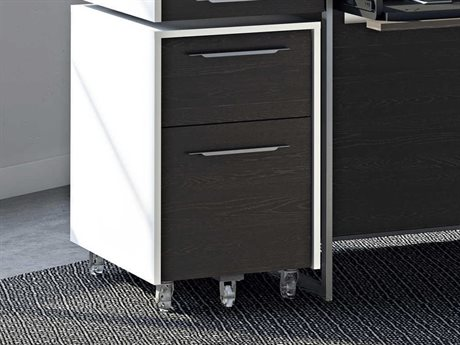 BDI Format 16''L x 24''W Satin White & Charcoal Mobile Two-Drawer File Pedestal BDI6307SWCRL