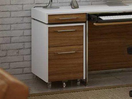 BDI Format 16'' x 24'' Satin White & Natural Walnut Two Drawer Mobile Pedestal File Cabinet