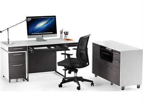 BDI Format Satin White & Charcoal Office Set