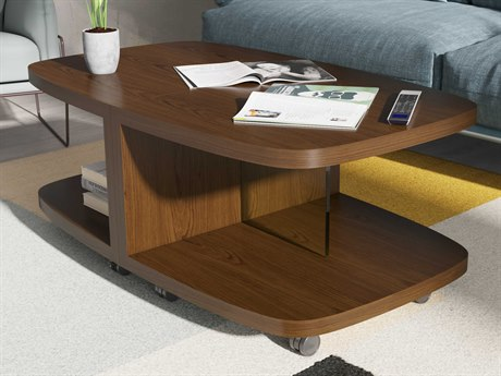 BDI Muv Toasted Walnut / Clear 22'' Wide Demilune Coffee Table