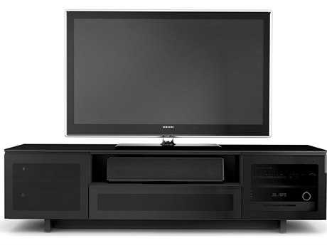 BDI Nora 77'' x 22'' Gloss Black Quad Wide Enclosed TV Stand BDI8239B