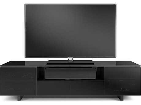 BDI Nora Slim 77'' x 18.5'' Gloss Black Quad Wide Enclosed TV Stand BDI8239SB
