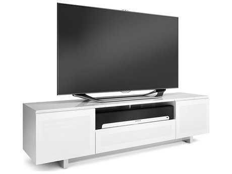 BDI Nora Slim 77'' x 18.5'' Gloss White Quad Wide Enclosed TV Stand BDI8239SW