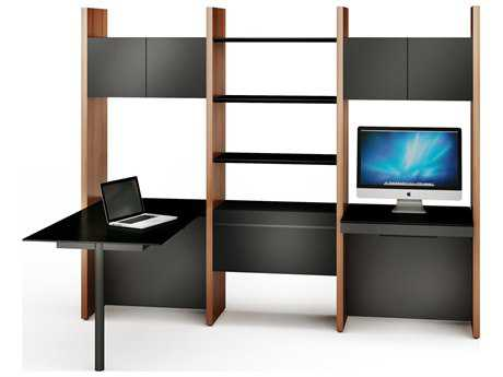 BDI Semblance Office 98L x 79.5H Three-Section Bookcase with Peninsula & Computer Desk BDI5413PD