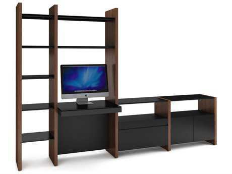 BDI Semblance Office 116L x 79.5H Four-Section High & Low Bookcase with Inline Desk BDI5464DK