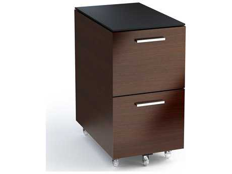 BDI Sequel 16'' x 24'' Chocolate Stained Walnut Two Drawer Mobile Pedestal File Cabinet