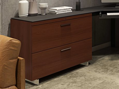 BDI Sequel 35'' x 18'' Chocolate Stained Walnut Two Drawer Lateral File Cabinet