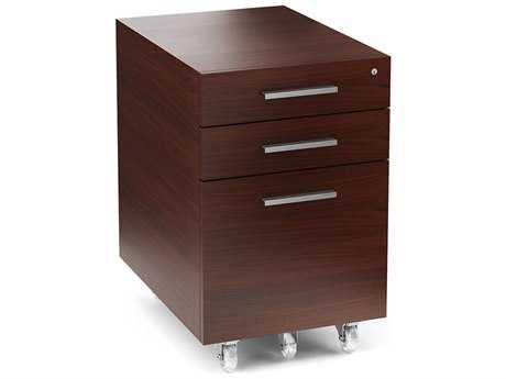 BDI Sequel 16'' x 21'' Chocolate Stained Walnut Three Drawer Mobile Locking File Cabinet BDI60072CWL