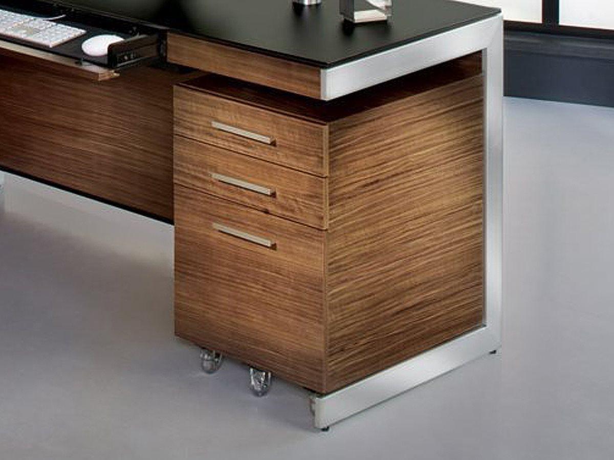 Bdi Sequel 16 X 21 Natural Walnut Three Drawer Mobile Locking File Cabinet