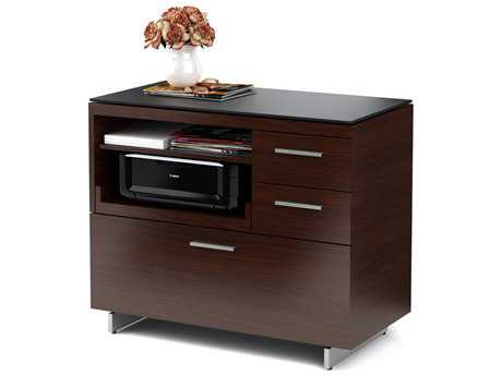 BDI Sequel 35'' x 18'' Chocolate Stained Walnut Three Drawer Multi-Function File Cabinet BDI6017CWL