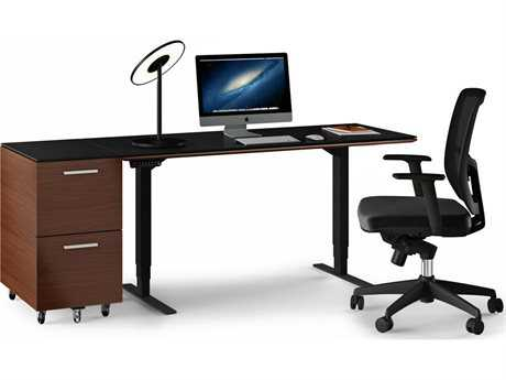 BDI Sequel Chocolate Stained Walnut Small Lift Desk Home Office Set
