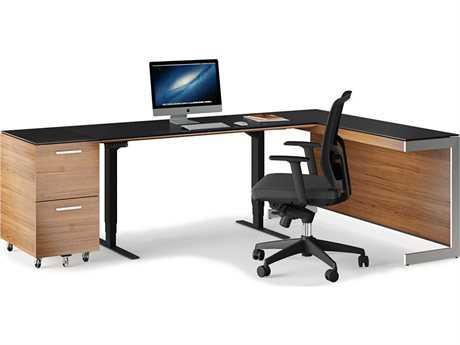 BDI Sequel Natural Walnut Small Lift Desk Office Set