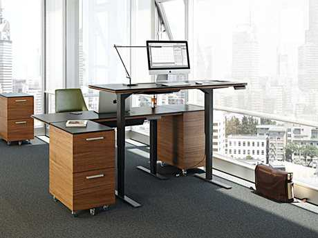 BDI Sequel Natural Walnut Large Lift Desk Office Set
