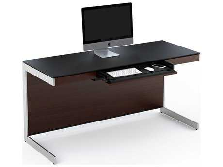 BDI Sequel 60'' x 24'' Rectangular Chocolate Stained Walnut Computer Desk with Back Panel BDI6001CWL
